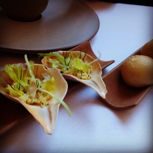 Fifth course at Eleven Madison Park continued: Clambake with Whelk, Parker House Roll.