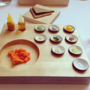 Seventh course at Eleven Madison Park: Carrot (Tartare with Rye Bread and Condiments)