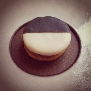 First course at Eleven Madison Park: Cheddar (Savory Black and White Cookie with Apple)