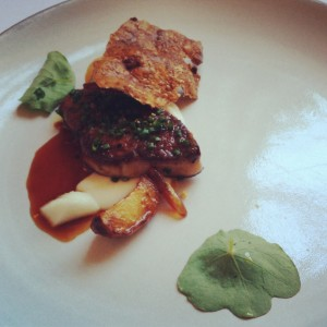 Sixth course at Eleven Madison Park: Foie Gras (Seared with Sunchoke, Dates, and Water Chestnut)