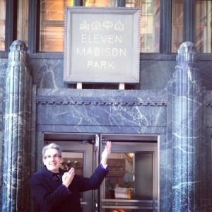 In front of Eleven Madison Park, currently ranked the #10 restaurant in the world.